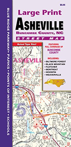 County Maps Road Nc - Asheville/Buncombe County NC Fold Map