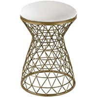 Artistic Lighting Wire Mesh Forms Bench, Gold/Cream Linen