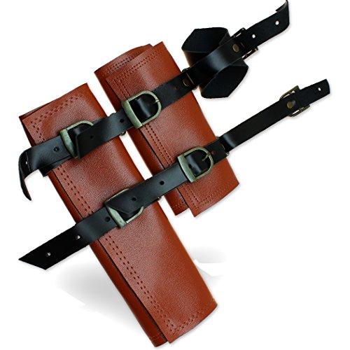 Double Sword Frog Waist Holster Belt-Mounted Adjustable Medieval & Japanese Brown