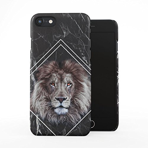 Jungle Safari King Lion Mane Head Black Marble Block Plastic Phone Snap On Back Case Cover Shell for iPhone 7 & iPhone 8