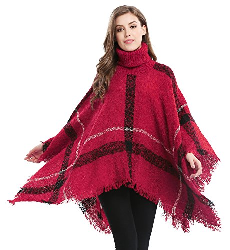 Bellady Women's Batwing Tassels Poncho Cape Plaid High Collar Sweater Poncho, Red (Plaid Poncho)