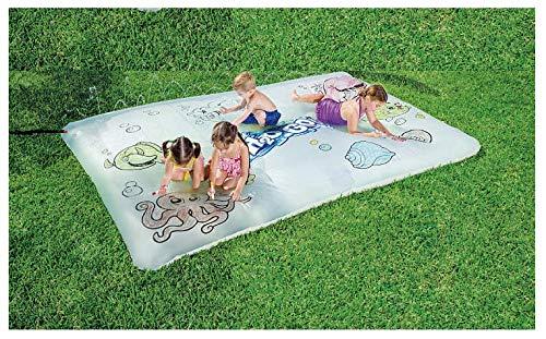Bestway H2O-Go Fun Sketching Art Blobz Water Filled Giant Spraying Splash Mat (White Splash Mat w/ Bonus Erasable Crayons)