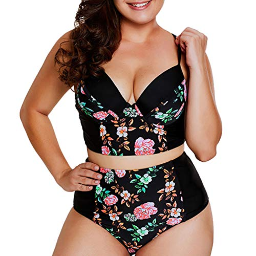 Summer Swimsuit Fxbar Women Plus Size Beach Swimwear Two Pieces Bikini Sets High Waisted -