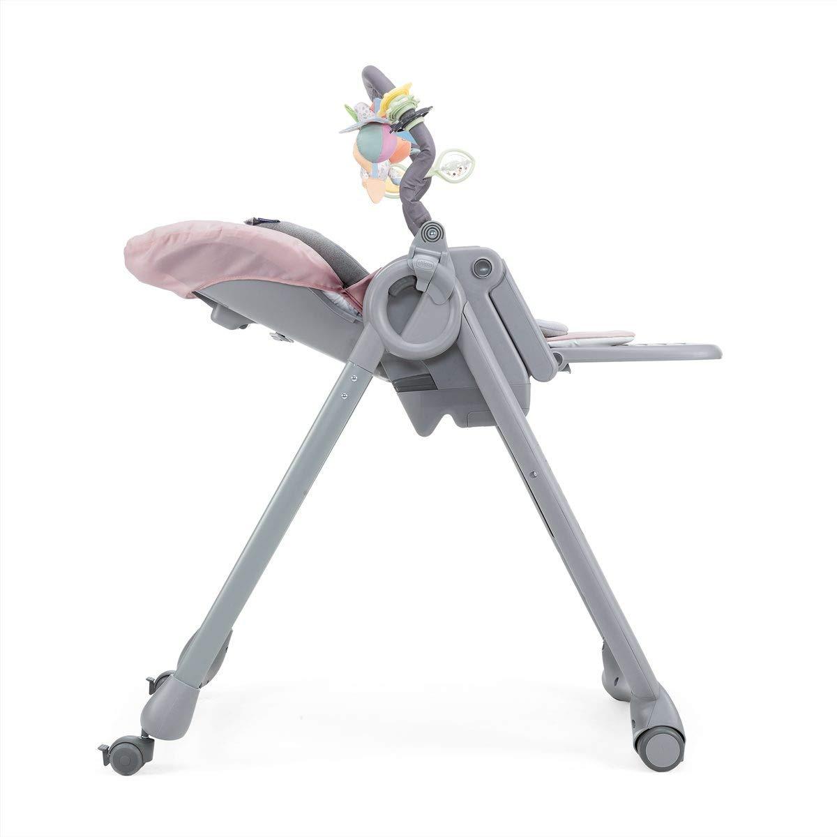 Chicco Polly Magic Relax Trona y hamaca evolutiva con barra de juegos de 0 a 3 a/ños color rosa Paradise Pink con 4 ruedas y freno plegable y compacta