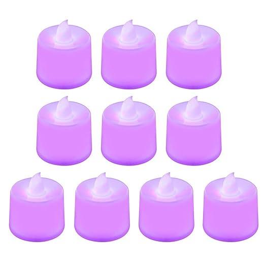 wangZJ 10 piezas Velas de ámbar sin llama Luz de vela LED ...