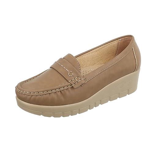 8fef5ba5a71cb Ital-Design Chaussures Femme Mocassins Compensé Mocassins  Amazon.fr ...