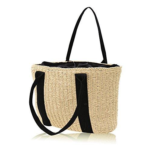 Meaeo Las Mujeres Bolso+Papel Algodón De Poliéster Cuerda Para Las Vacaciones, La Playa, Ocio Tote Bag De Alta Capacidad, Marrón Beige