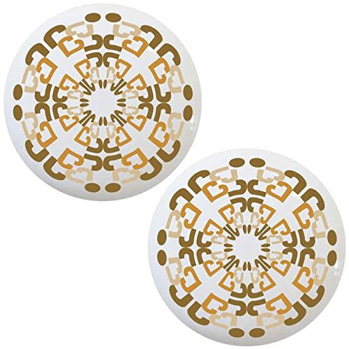 Set of 2 Arabesque Pattern #2 Ceramic Cabinet Drawer Knobs
