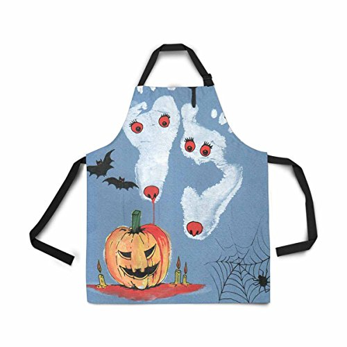 InterestPrint Happy Halloween Deer Footprints Adjustable Bib Apron for Women Men Girls Chef with Pockets, Novelty Kitchen Apron for Cooking Baking Gardening Pet Grooming Cleaning