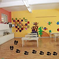Floor Stickers Party Decoration Dance Studio Finduat 20 Pairs 40 Prints Black Shoe Footprint Stickers Decals Floor Wall Stairs to Guide Directions for School