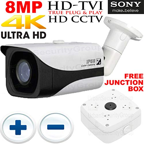 USG Business Grade HD-TVI 8MP @ 30FPS Ultra 4K UHD Sony IMX274 Chipset Ultra High Definition CCTV Bullet Security Camera: 3840x2160 Resolution, 8MP 3.6-11mm Manual Vari-Focal Lens, 200ft IR LEDs ()
