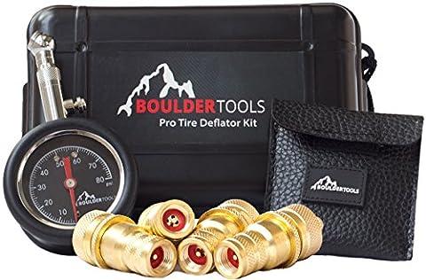 Boulder Tools Tire Deflators and 80 PSI Tire Pressure Gauge - Adjustable, Automatic for car, truck, (Ever Tough)