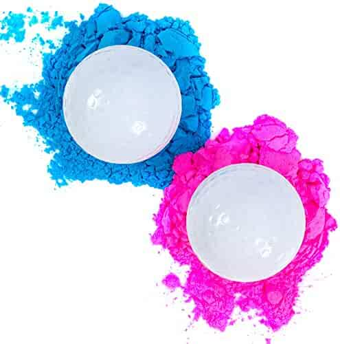 Gender Reveal Golf Balls Exploding Golf Ball Set (1 Pink + 1 Blue + 2 Wooden Tees per Pack) Girl or Boy Baby Sex Reveal Ideas / Announcement Party | Maximum Powder for the Best Explosion of Smoke