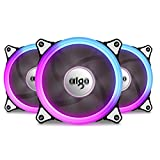 Aigo Aurora C3 Kit 3 Pack RGB Case Fan LED 120mm Speed Controllable High Performance High Airflow Adjustable Color PC CPU Computer Case Cooling Cooler With Controller