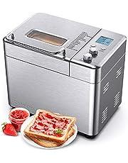 2.2LB Bread Maker, 15-in-1 Stainless Steel Automatic Toaster Maker with Fruit and Nut Dispenser, 15 Hours Delay-start Function, Homemade Sandwich, Cake, Bake, Jam, Yogurt and Dessert