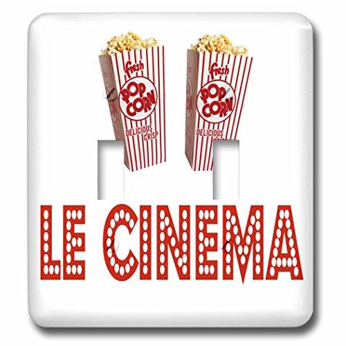 3dRose RinaPiro Movie Sayings - Le Cinema. Popcorn. - Light