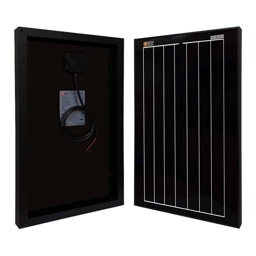 Richsolar Black 30 Watt 12 Volt Off Grid Portable Monocrystalline Solar Panel for RV Marine Boat (30W)