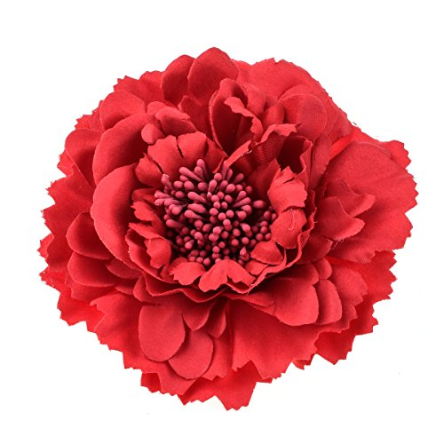 - HC-01 Floral Fall Peony Flower Hair Clip Flamenco Dancer Pin up Flower Brooch (Red)