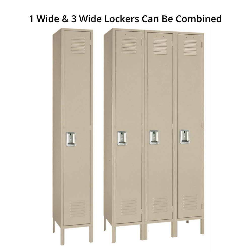 Amazon Com Lyon Pp50923 Single Tier Steel Locker Unit With 3 Frames 54 Width X 18 Depth X 72 Height Putty Industrial Scientific