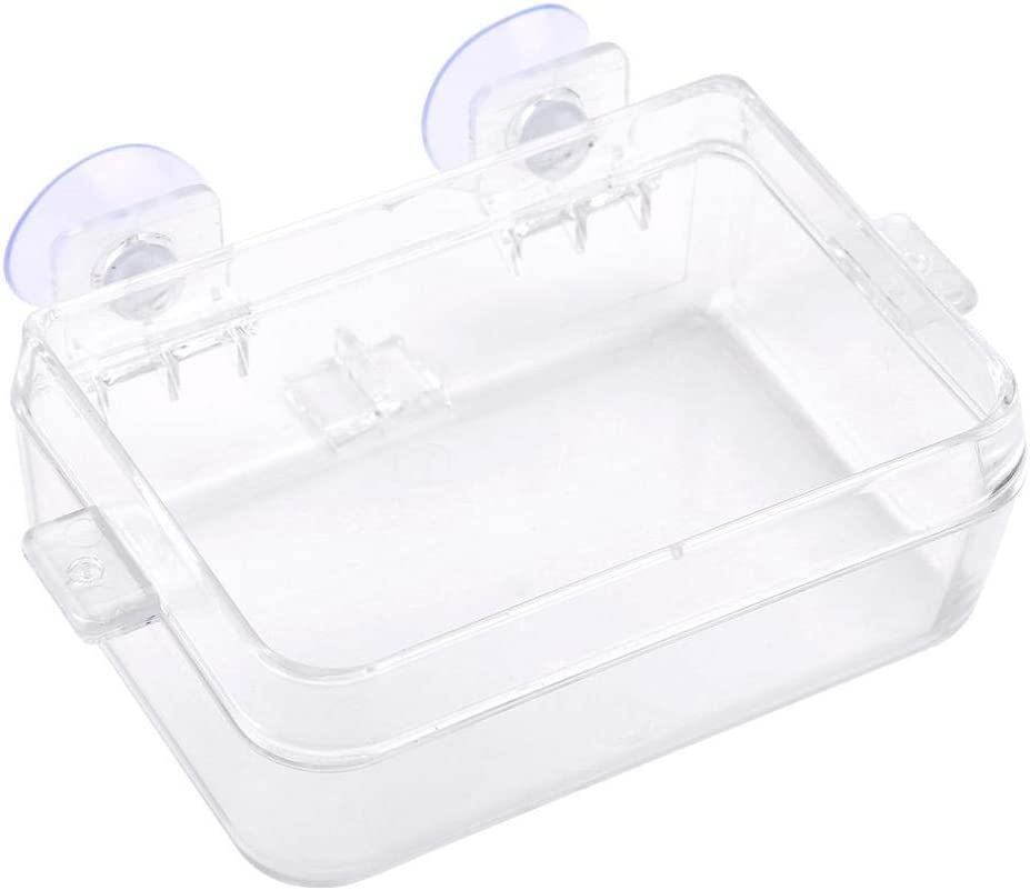 Hffheer Reptile Feeder Anti-Escape Amphibians Feeder Dish Food Water Bowl Translucent Feeding Basin with Suction Cup for Tortoise Gecko Snakes Chameleon Lizard