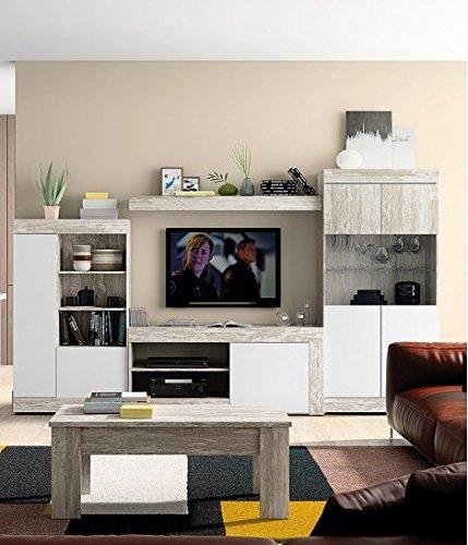Mobelcenter - Mueble Salón Logan 004 - Blanco y Vintage - 295 x 39,8 x 170,5 cm (0812) + Envío Gratis