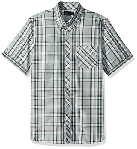 Fred Perry Gingham Shirt - Fred Perry Men's Bold Check Shirt, Silver/Blue, Small