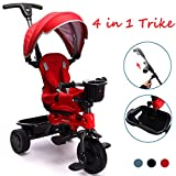 ChromeWheels 4-in-1 Kids' Trike & Stroller, Adjustable Height Push Ride Tricycle for 9 Months - 5 Year Old,Red