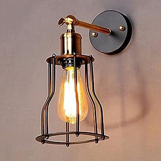 Wall Light Nordic nero americano Retro lampada da parete ristorante bar cafè Salotto Lampada da comodino Balcone Corridoio Scale creativo della gabbia di uccello Muro di Ferro Head Light singolo