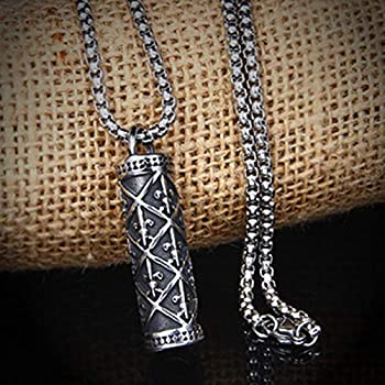 Three Size Epinki Stainless Steel Mens Cylindrical Pendant Necklace