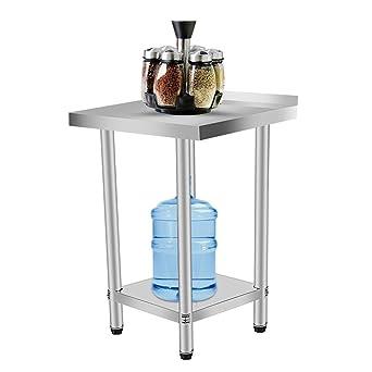 Homgrace Mesa de cocina en acero inoxidable con dos estantes, mesa para la preparación de comida para cocina (61x61x90cm con respaldo): Amazon.es: Industria, empresas y ciencia
