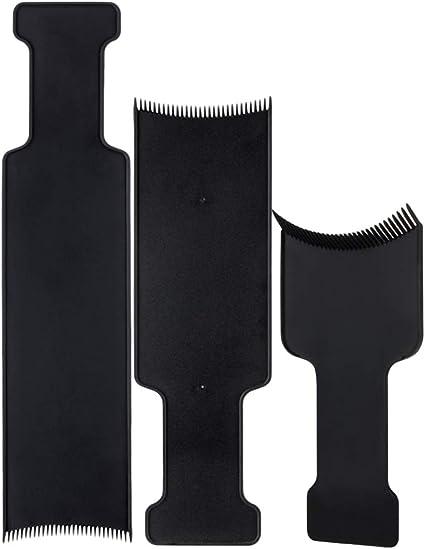 Lurrose 3pcs Cabello largo que destaca el tablero de seccionamiento peluquero plano superior paleta tablero peine para teñir el cabello teñido ...