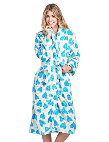 Warm Heart Pattern - Casual Nights Women's Heart Long Sleeve Mini Popcorn Fleece Plush Robe - Aqua - Medium