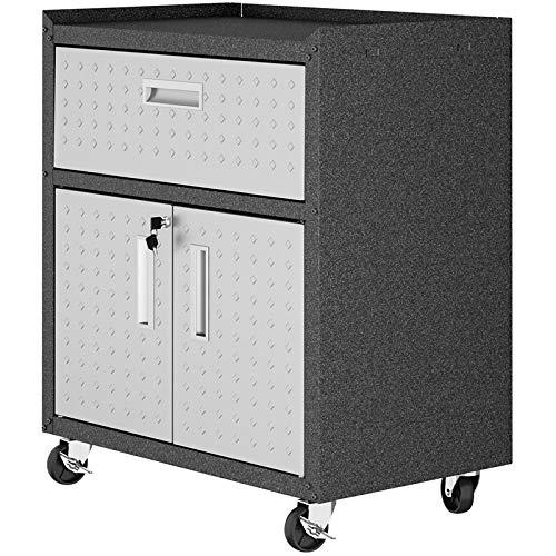 Manhattan Comfort 2GMCC Fortress Rolling Cabinet Garage Storage, Black/Gray ()