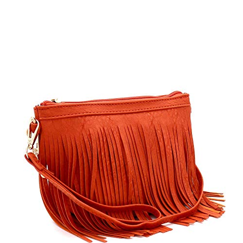 Front and Back Both Side Fringed Soft PU Leather Medium Long Cross Body Messenger Shoulder Bag (SMALL-CARROT)