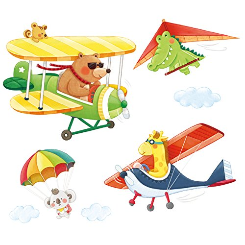 Decowall DA-1506C Animal Biplanes with Hang Glider Kids Wall Decals Wall Stickers Peel and Stick Removable Wall Stickers for Kids Nursery Bedroom Living Room