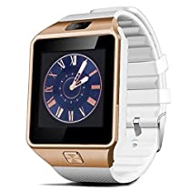 Aipker DZ09 Bluetooth Smart Watch with Camera Sync to Android Smart Phones Samsung S5 / Note 2 / 3 / 4,nexus 6,htc,sony,huawei and Other Android Smartphones (Gold/White)
