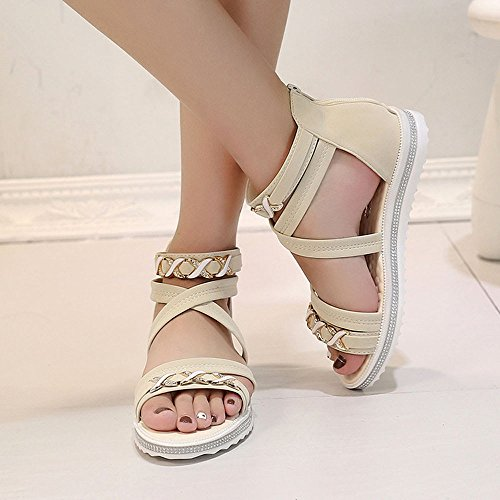 WINWINTOM Women's Sandals Summer New Women Flat Shoes Daily Bandage Soft Leather Lady Beach Zipper Sandals Beige rvxx1kGng