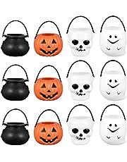 Cabilock 12 stuks Halloween trucs of behandelen potten mini heks ketel potten pompoen snoep emmer nieuwe snoephouder pot met handvat party favoriet benodigdheden decoratie