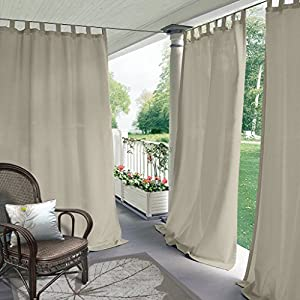 COFTY Indoor/Outdoor Tab Top Curtain Panels For Patio| Porch| Gazebo| Pergola | Cabana | dock| beach home - Beige 84W x 84L Inch (1 Panel)