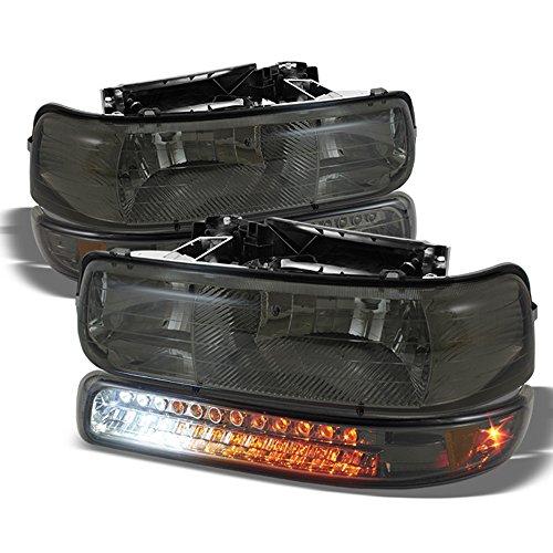 ACANII - For Smoke 99-02 Chevy Silverado 00-06 Suburban Headlights w/LED Bumper Signal Lamps Driver + Passenger Side (99 Signal Lamp)