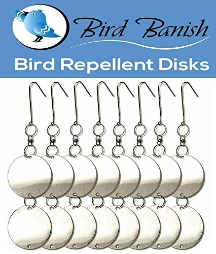 Bird Repellent Reflective Deterrent Diverter Blinders Discs. Scare Pigeons, Crows Away from Car Port, Balcony & Patio. Fruit Tree, Vegetable Garden Protection from Damage & Mess. Organic, Eco-Friendly ()