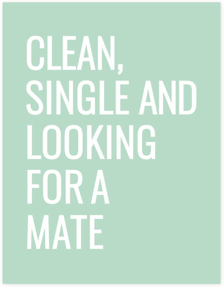 Andaz Press Laundry Room Wall Art Decor Signs, 8.5 x 11-inch Poster, Mint Green Print, Clean, Single, Looking for A Mate Abandoned Sock Clothespin DIY, 1-Pack