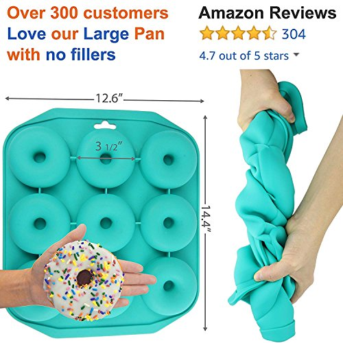 Large Donut Pan Super Non-Stick Silicone, Makes 9 Full Size Donuts, BPA Free, FDA & German LFGB Approved   Oven, Dishwasher and Freezer Safe Doughnut Mold, Bagel Pan with Bonus Recipe Card & Gift Bag by Wappa (Image #7)