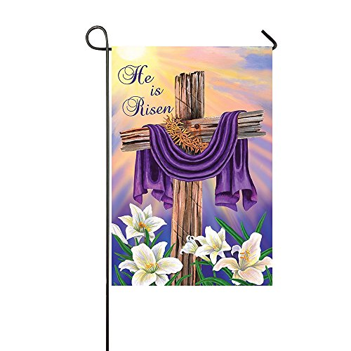 Lily's Rossne Home Outdoor Garden Flags Easter Cross He Is Risen House Flag Decoration Double Sided Flag 12.5