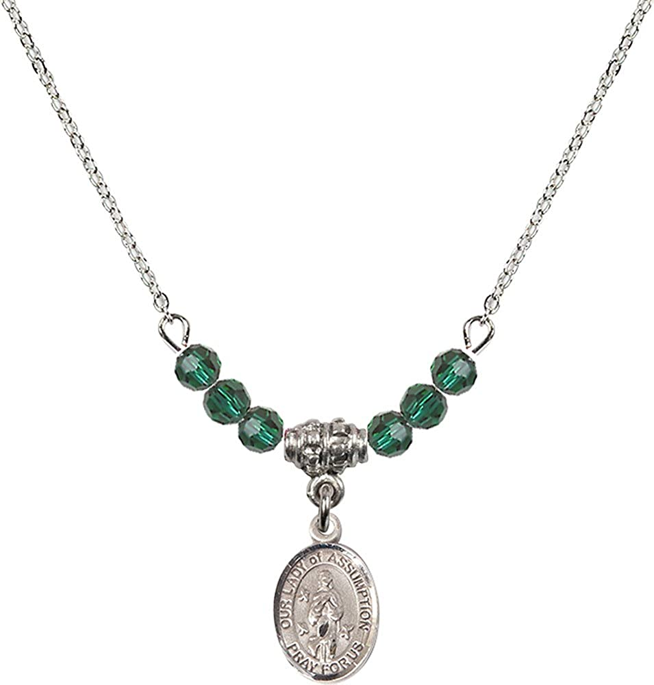 18-Inch Rhodium Plated Necklace with 4mm Emerald Birthstone Beads and Sterling Silver Our Lady of Assumption Charm.