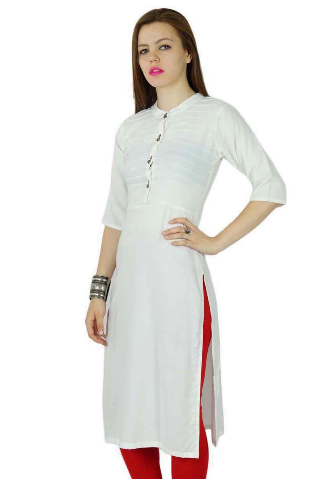 Bimba Women Rayon Custom Kurta Kurti Short Sleeve Summer Tunic Long Top Blouse Indian Clothing