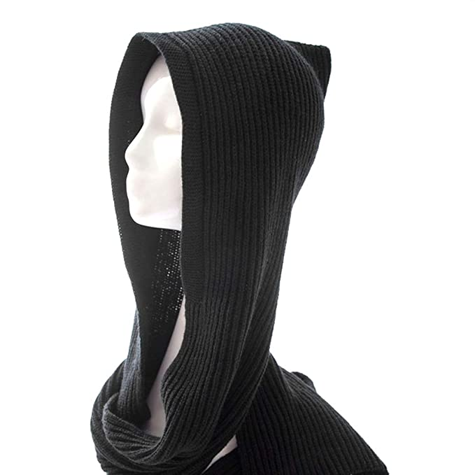 2bcdddfb6ac Image Unavailable. Image not available for. Color  Unisex Winter Bomber Hats  Knit Hooded Scarf Wrap Cap Hoodie Scarves ...