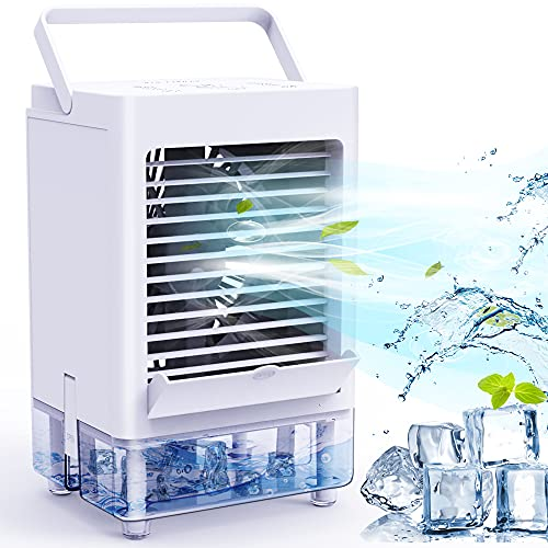 Portable Air Conditioner Fan with 3 Wind Speeds, 5000mAh Rechargeable Battery Personal Air Cooler with 1/2/4/8H Timer…