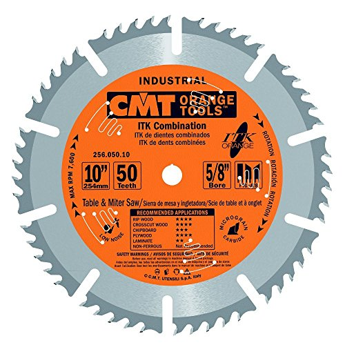 (CMT 256.050.10 ITK Industrial Combination Saw Blade, 10-Inch x 50 Teeth 1FTG+4ATB Grindwith 5/8-Inch)