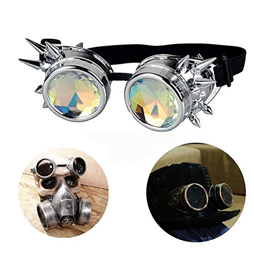 (T&B Vintage Steampunk Goggles Glasses Bling Lens Spiked Cyber Punk Gothic COSPLAY PARTY Rivets Rainbow Crystal Lenses Halloween (silver frame colorful lenses))